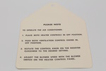 Ford Parts -  A/C Conditioner Instruction Tag