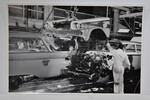 "Ford Parts -  Photo - Assembly Line - Front End Drops On Car - 12"" X 18"""